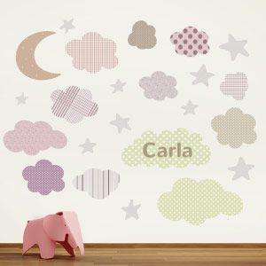 Personalised moon, stars and clouds wall stickers