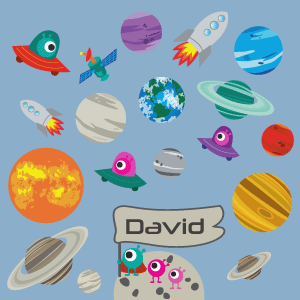 Personalised planets and rockets wall stickers